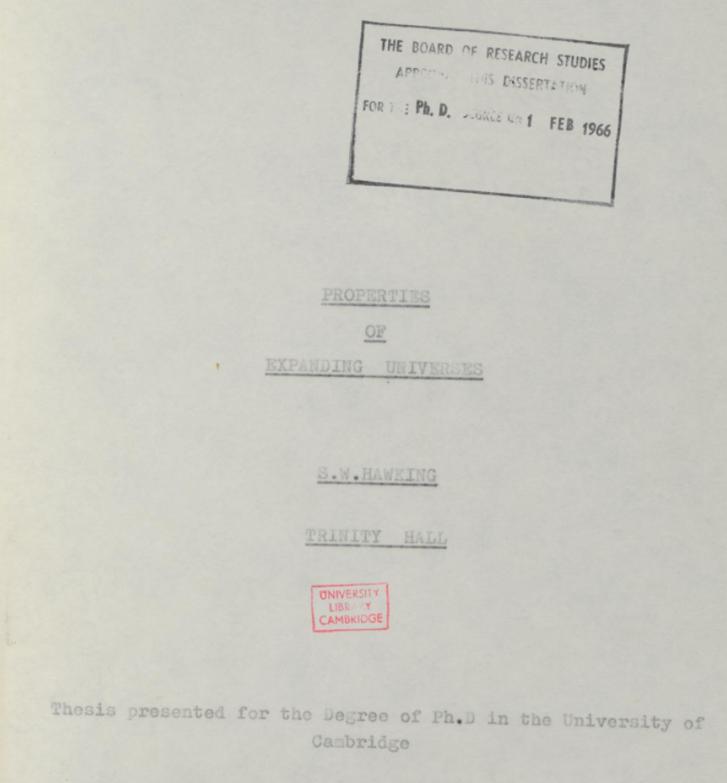 Hawking doktorijának kezdőlapja
