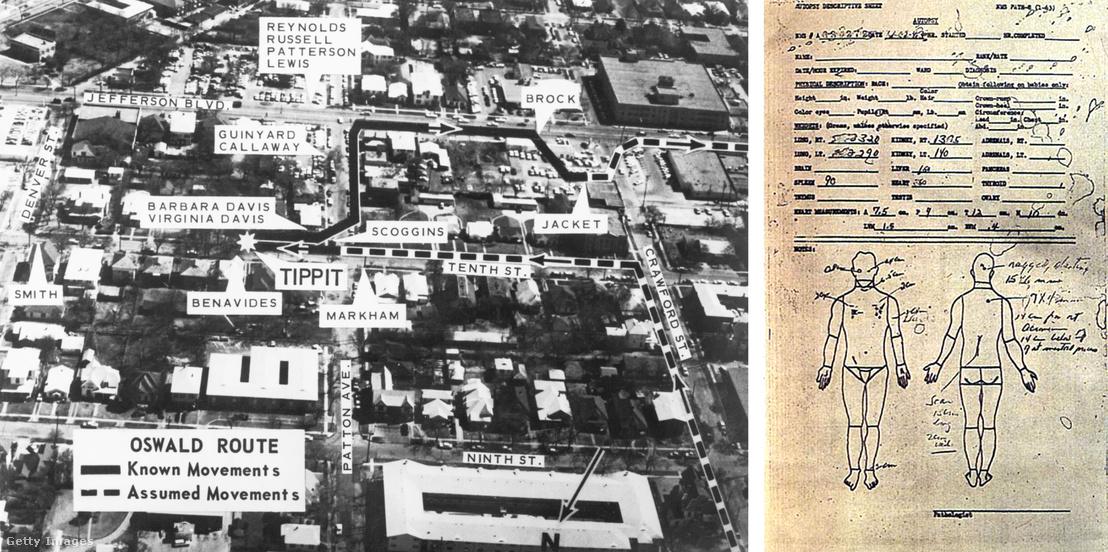 Bal: Oswald ismert és feltételezett útvonala a merénylet idején egy korabeli dokumentumon - Jobb: Kennedy boncolási jegyzőkönyve