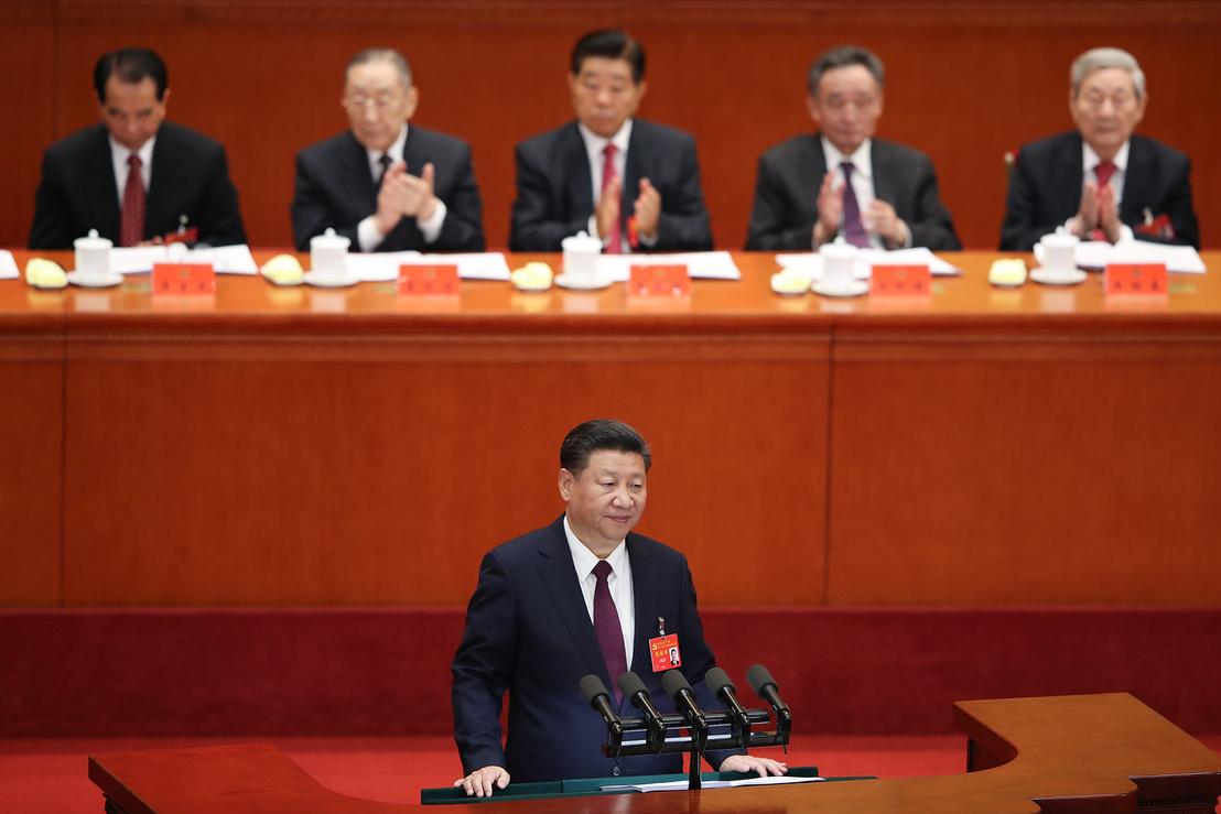 Hszi Csin-Ping a Kínai Kommunista Párt pártkongresszusán 2017. október 18-án