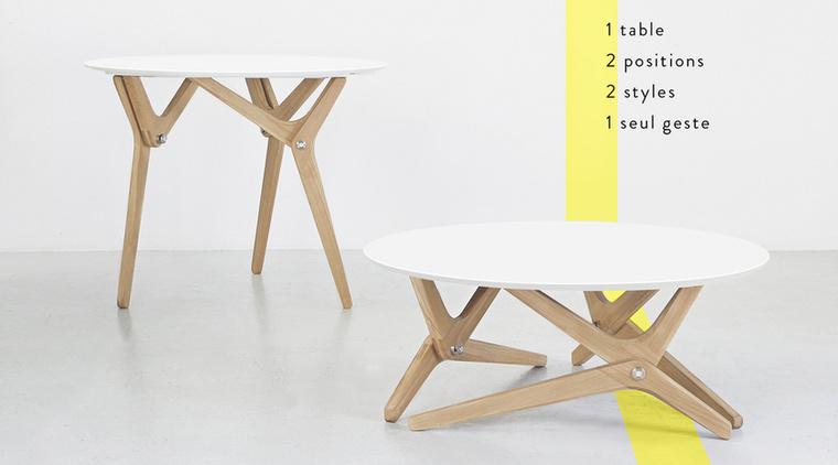 A francia márka tervezői az állítható-átalakítható vasalódeszka X-alapú mechanizmusát vették alapul, mikor elkészítették dohányzóasztalukat, ami egy másodperc alatt étkező asztallá alakítható