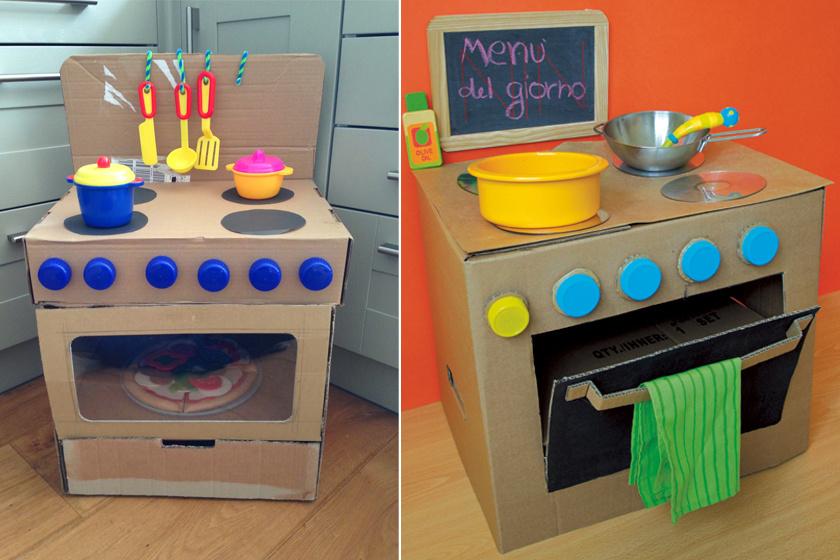 Fogj egy akkora papírdobozt, ami a gyereknek épp derékmagasságig ér, és vágj sütőajtót az elejére! Kupakokból ragassz gombokat, a rózsák fekete papírkorongok vagy régi cédék is lehetnek. A tűzhelybe ragassz egy belső szintet, amire a játéktepsi kerülhet. Áttetsző fóliával csinálhatsz üveges ajtót is.