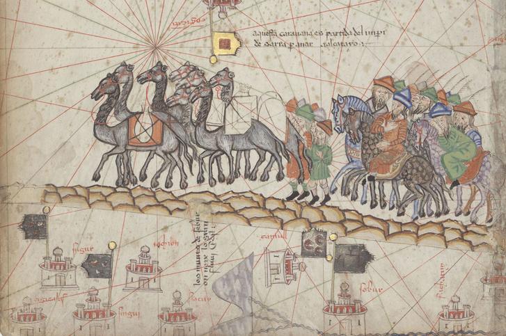Marco Polo karavánja élén, az 1375-ös Katalán atlaszból