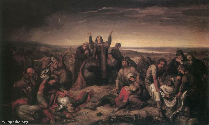 Perényiné a mohácsi csata után összeszedi a halottakat (1860 körül)