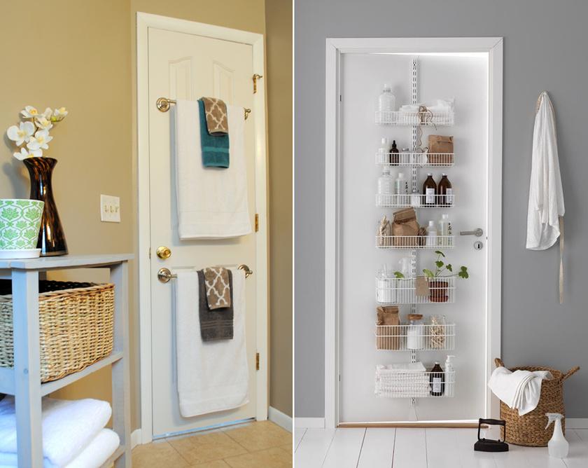 Kis fürdőben minden helyet érdemes kihasználni: már az ajtóra is felszerelhetsz rekeszeket vagy akasztókat a törölközőknek.