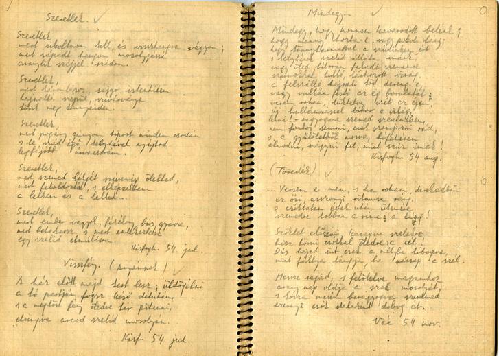 Részlet a Kockás füzetből, Gérecz Attila kézírása