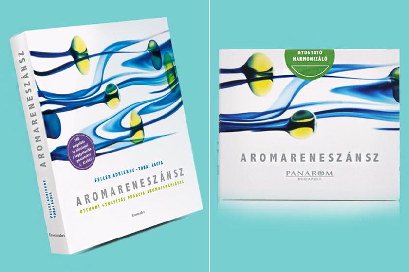 A nyereménycsomag tartalma: egy aromaterápiás, otthoni gyógymódokkal teli könyv 160 panaszra és egy illóolajcsomag