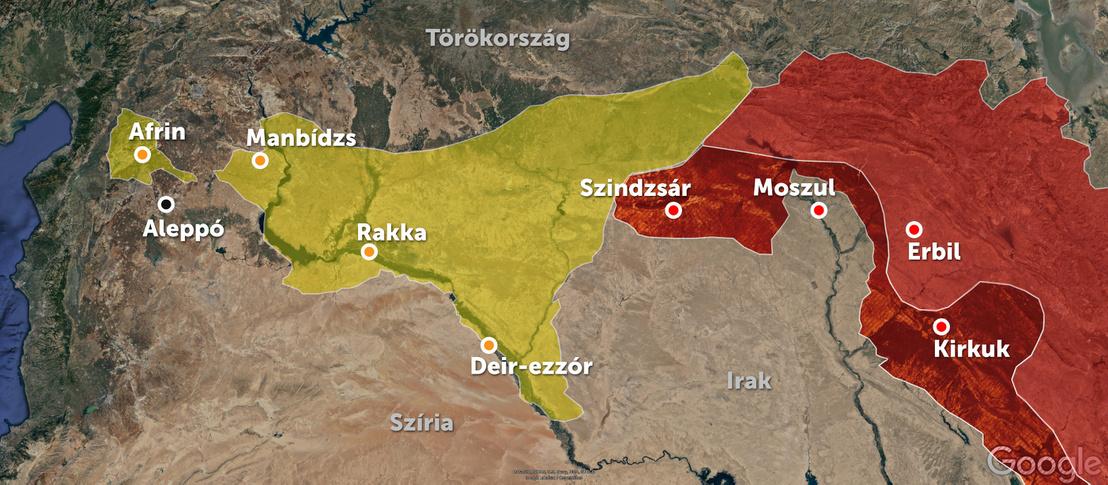 A térképen sárgával jelöltük a szíriai kurd területeket, pirossal pedig az iraki kurd területeket. A sötétebb részek azok, amiket az elmúlt hetekben adtak fel a kurdok.
