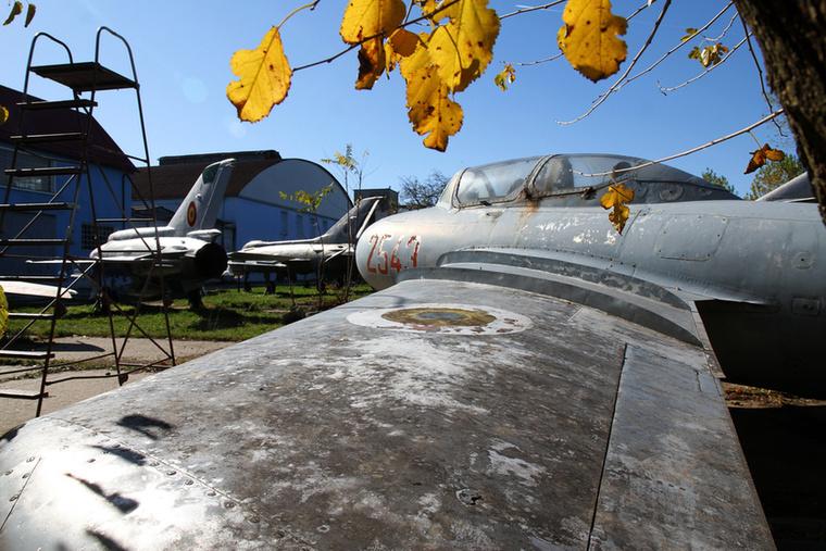 Egy MiG-15 UTI nyújtóztatja szárnyát a sárguló őszi falevelek alatt.