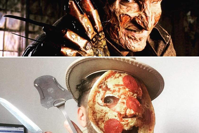 Így lett egy finom foszlós sajtos pizzából Freddy Krueger égett arca, a Rémálom az Elm utcában filmekből.