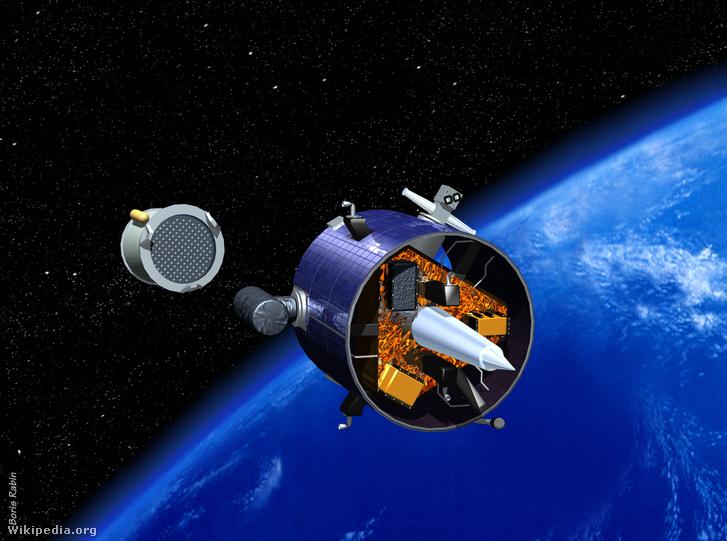 Művészi elképzelés a a Lunar Prospector Hold-szondáról, ahogyan elhagyja a Föld körüli pályát