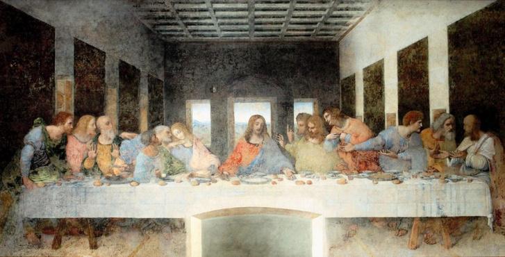 Jézus és tanítványai Leonardo Utolsó vacsora című freskóján