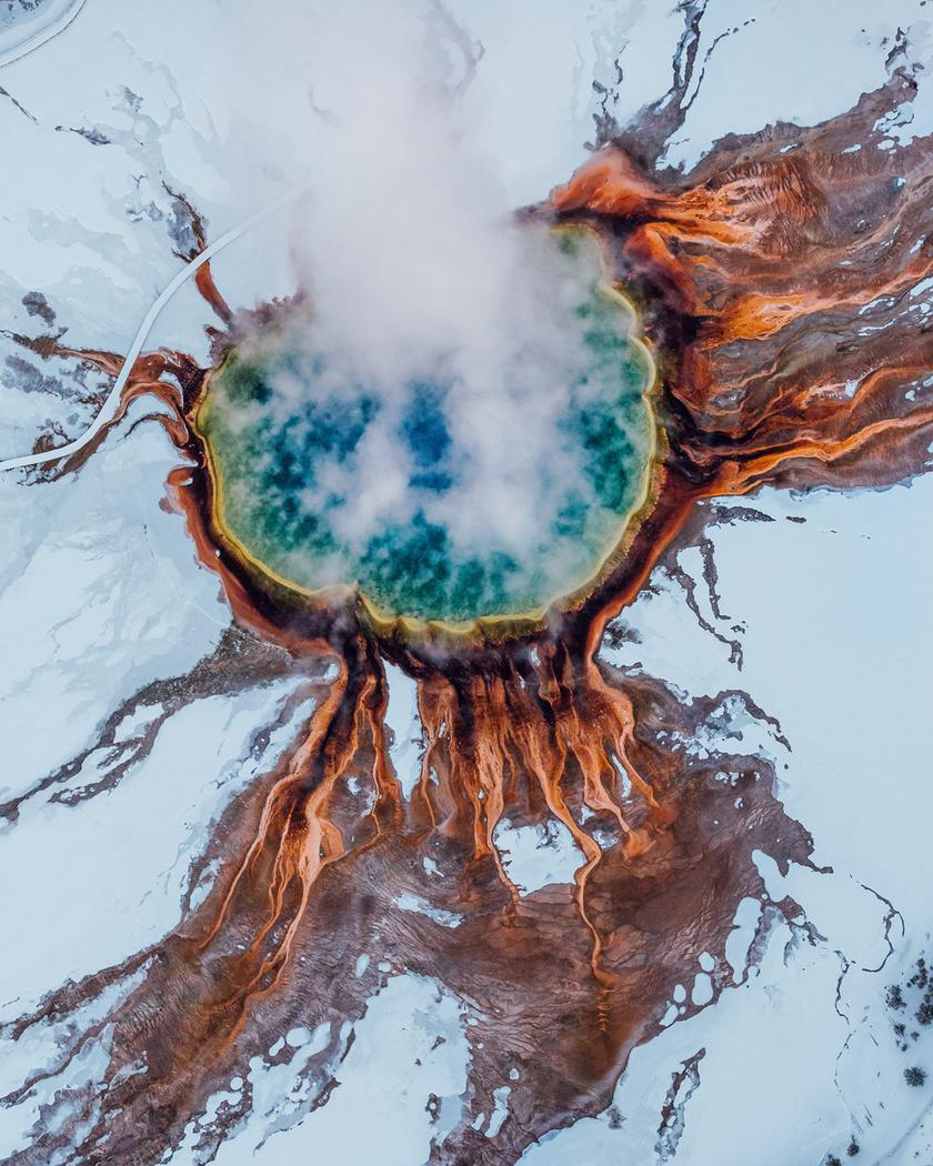 A Grand Prismatic Spring a Yellowstone Nemzeti Park egyik legszebb csodája.