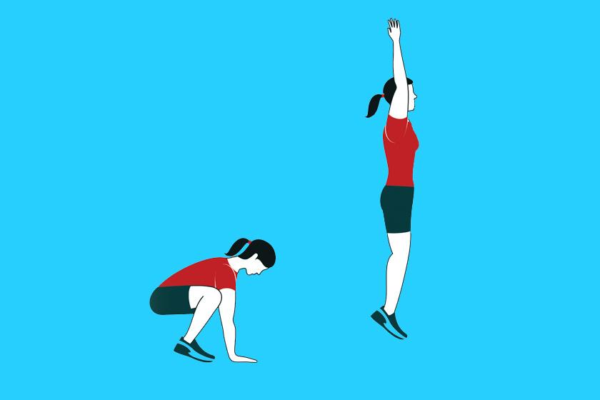 Guggolj le mélyen, hogy a tenyereddel elérd a talajt. A bokáddal és a térdeddel lökd magad felfelé, ugrásba, a karjaidat és a lábadat teljes hosszában nyújtva.