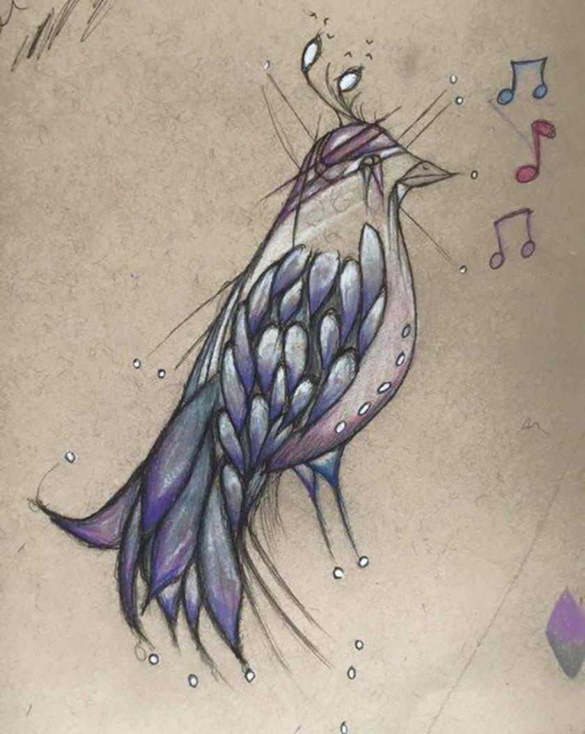 """A madarat ábrázoló rajzhoz Kate ezt fűzte hozzá: """"ő az, aki énekel nekem""""."""