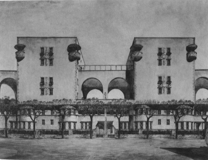 Róma, kertvárosi házcsoport terve, Vágó József, 1920