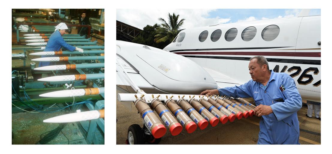 Balra: Jégelhárító rakéták gyártása Oroszországban. Jobbra: Ezüst-jodidot, nátrium-kloridot és kálcium-kloridot szóró felszerelést rögzítenek egy indiai repülőgépre.