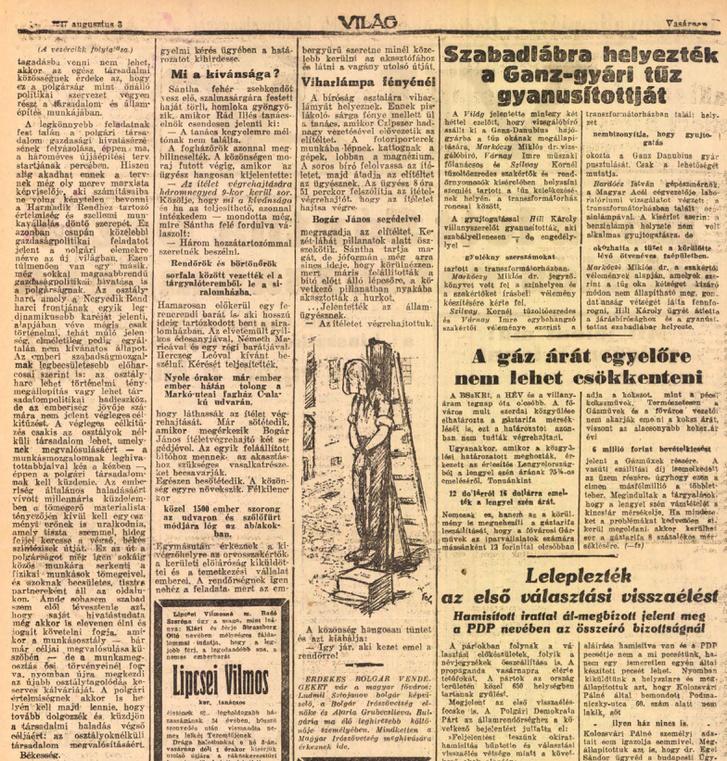 Tudósítás Sántha kivégzéséről a Világ 1947. augusztus 3. vasárnapi számának hasábjain
