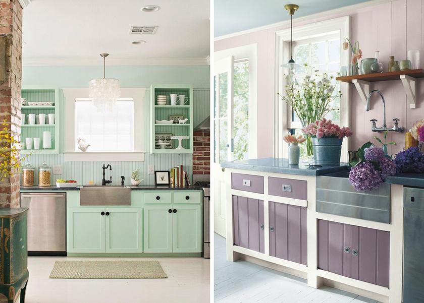 Egyetlen új szín teljesen megváltoztatja a konyha arculatát: a mentazöld és a levendula is jó választás.
