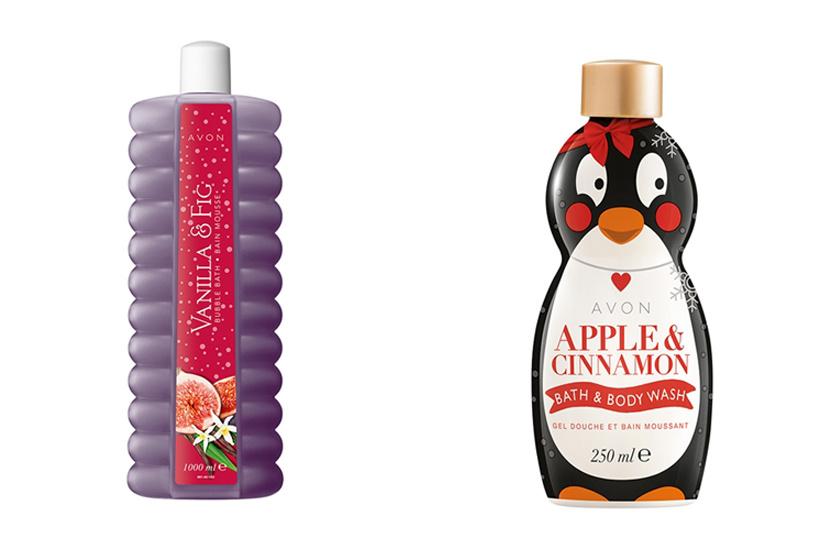 Az Avon ünnepi kiadású, vanília- és fügeillatú habfürdője téli hangulatot varázsol a fürdőkádadba, ahogyan a cuki, pingvines csomagolású, almás-fahéjas tusfürdő is. Előbbi 899, utóbbi 949 forint.