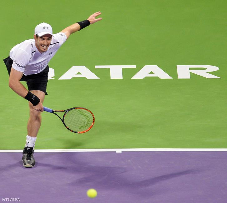Andy Murray játszik a szerb Novak Djokovic ellen a katari kemény pályás férfi tenisztorna döntõjében Dohában 2017. január 7-én.