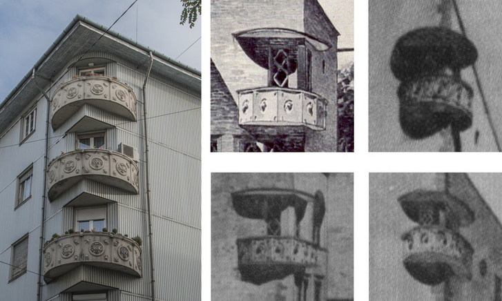Vágó József erkélyei Budapesten (balra) és római tervein (jobbra)