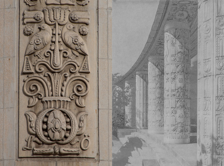 Vágó József-domborművek a kőbányai Szent László gimnáziumon (balra, 1915) és budai Grünwald-villán (jobbra, 1916)