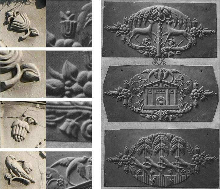 """Vágó József domborművei a """"Mintakészítők"""" erkélyén (balra) és egy római szállodában (jobbra)"""