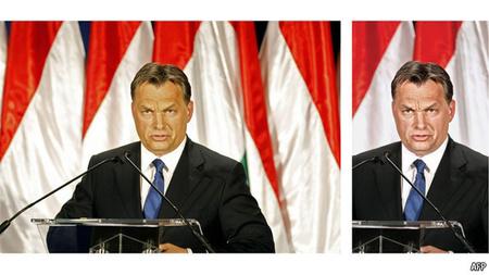 A kép baloldalán az AFP eredeti felvétele, a jobb oldalán a nyomtatásban megjelent kép látható