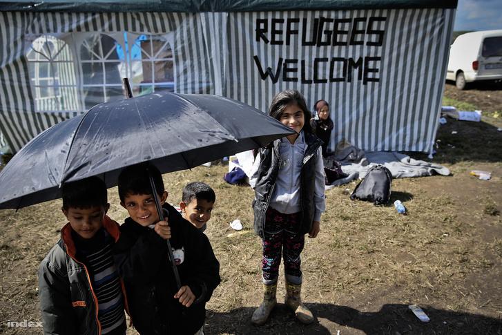 Menekültek Röszkén 2015 szeptemberében