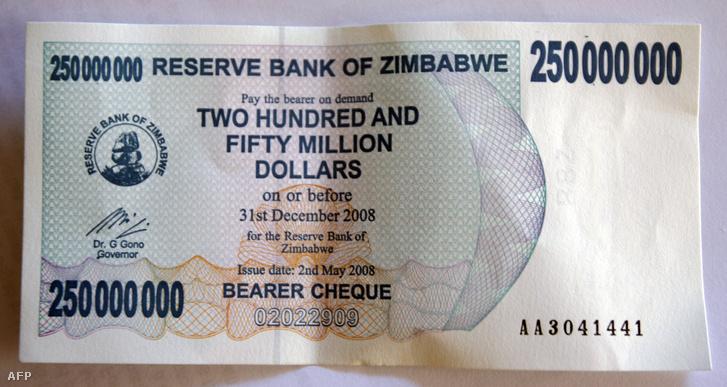 2008-ban kiadott 250 milliós bankjegy