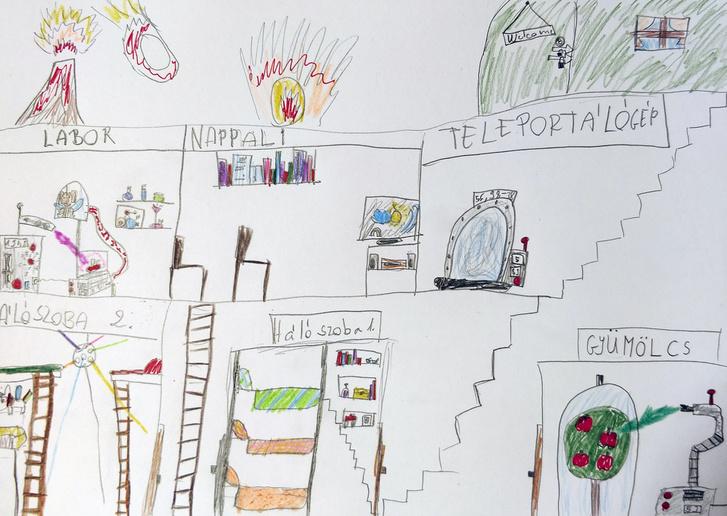 Hogyan képzelik az Indexnek november 20-án rajzoló gyerekek a túlélők atombunkerét? Blanka így.