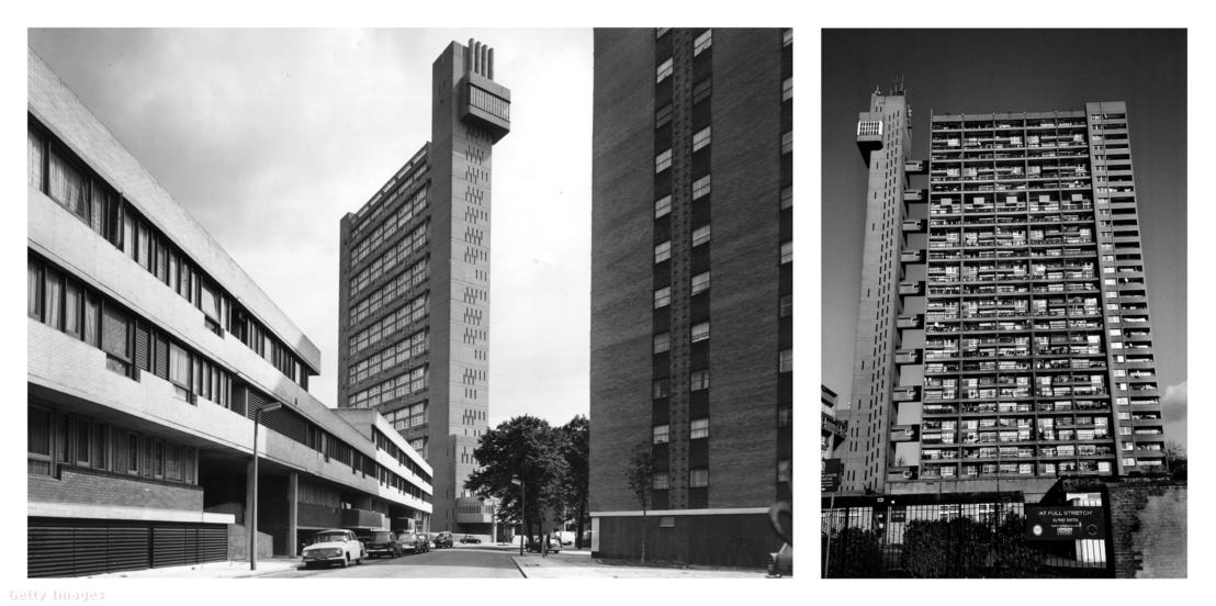 A 31 szintes Trellick-torony Londonban. Goldfinger ikonikus brutalista alkotása 1966-tól 1972-ig épült.