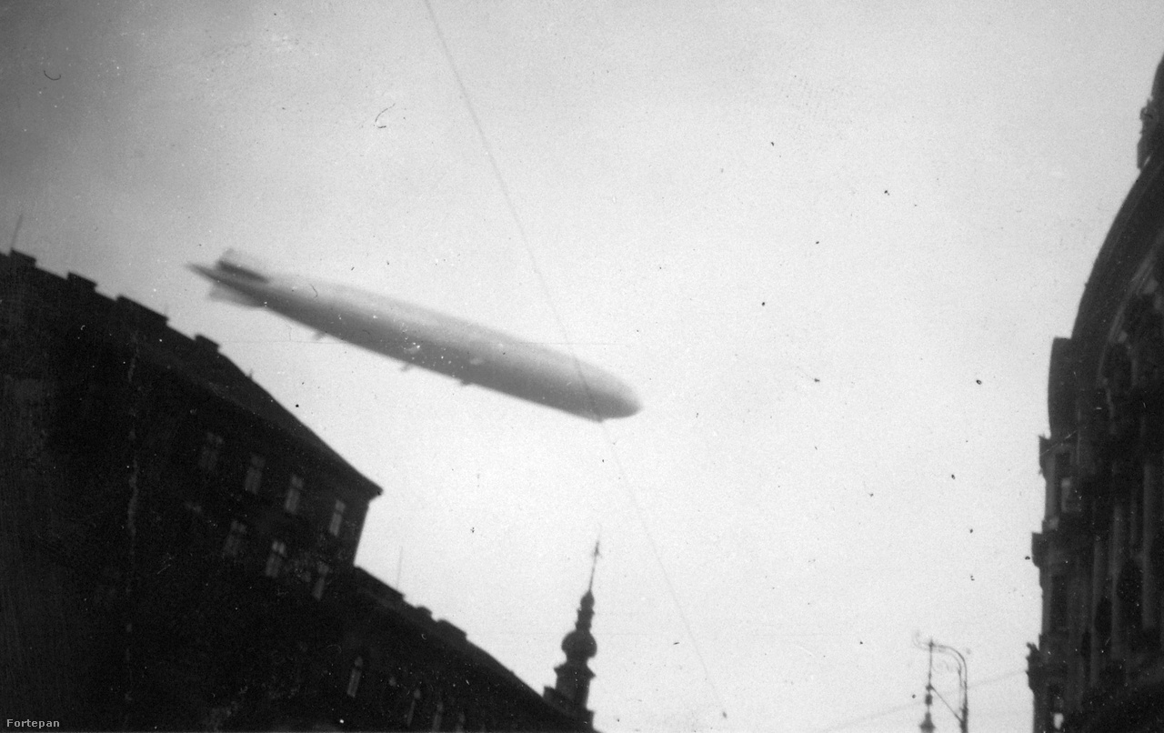 A Graf Zeppelin látványa a Lipót (Szent István) körútról, a Nyugati tér közeléből nézve 1931. március 29-én.