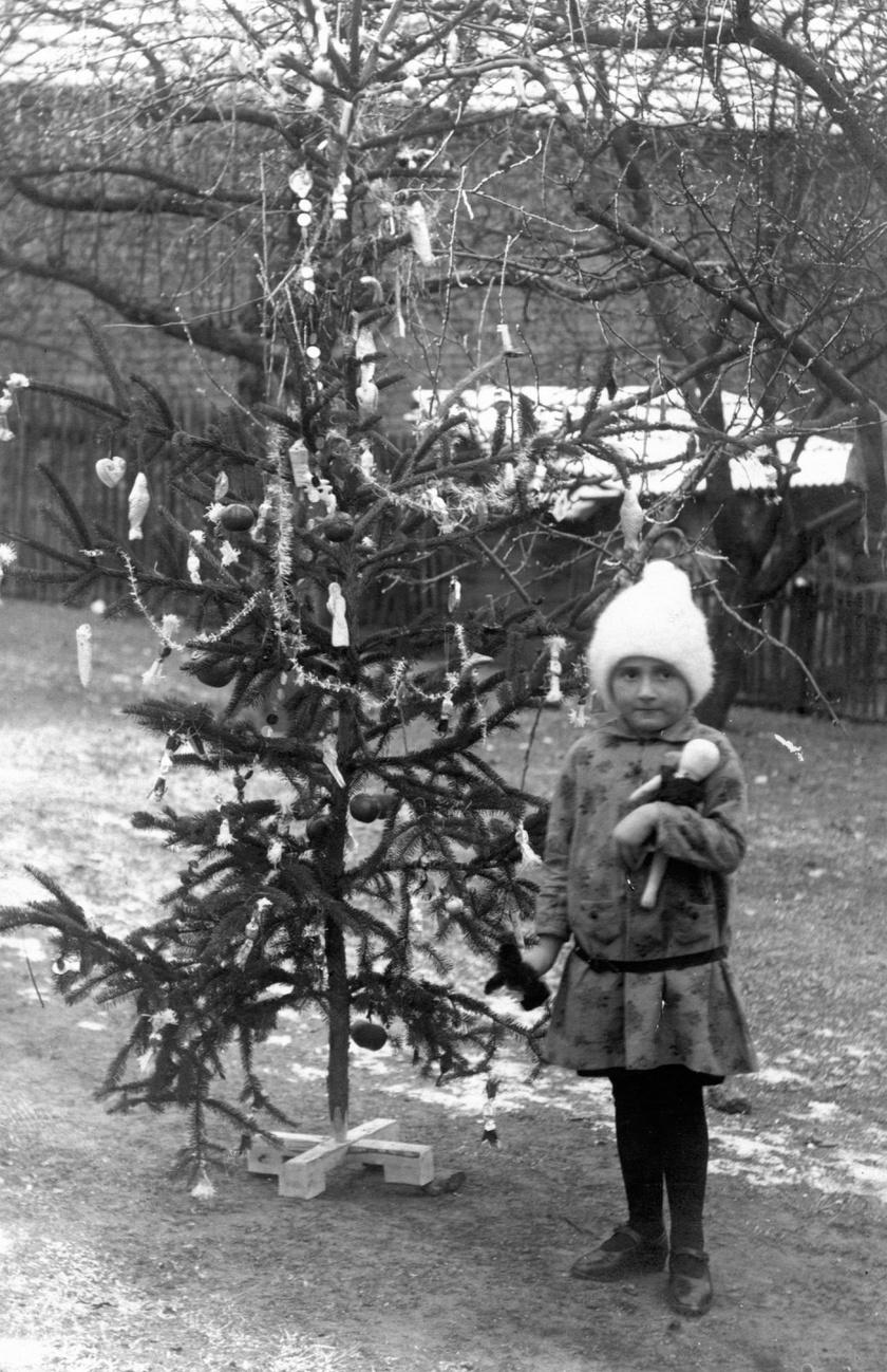 Akkoriban sok helyen csak az udvaron állítottak karácsonyfát. (1929)