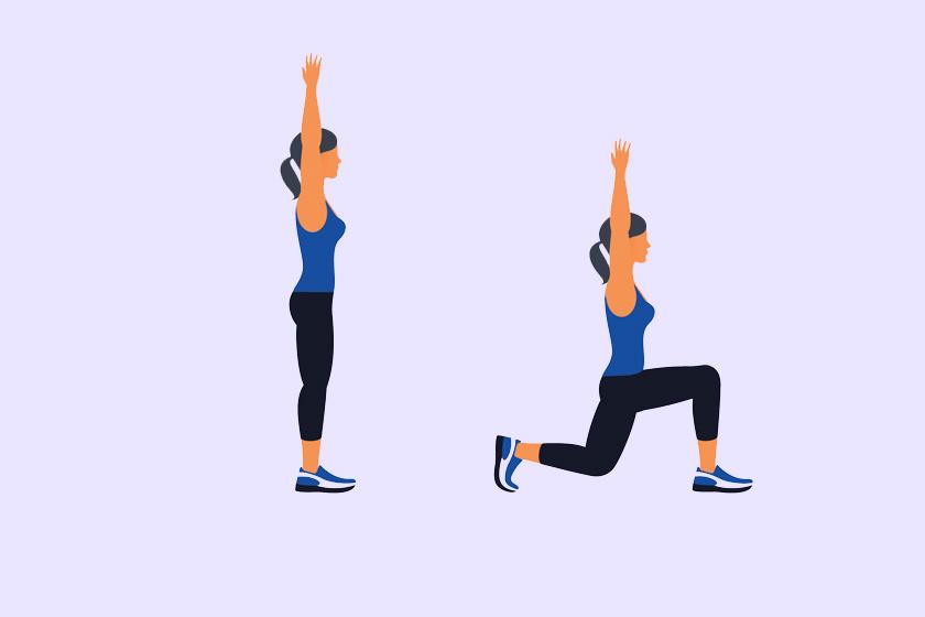Kezdj pár perc bemelegítéssel, aztán nyújtsd felfelé a karodat, és lépj előre a lábaidat váltogatva kitörésbe harmincszor. Ügyelj rá, hogy a térded ne érintse a talajt, és derékszöget zárjon be.