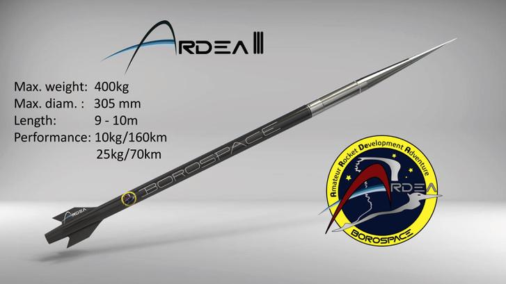 Az Ardea-III szuborbitális rakéta látványterve és főbb adatai
