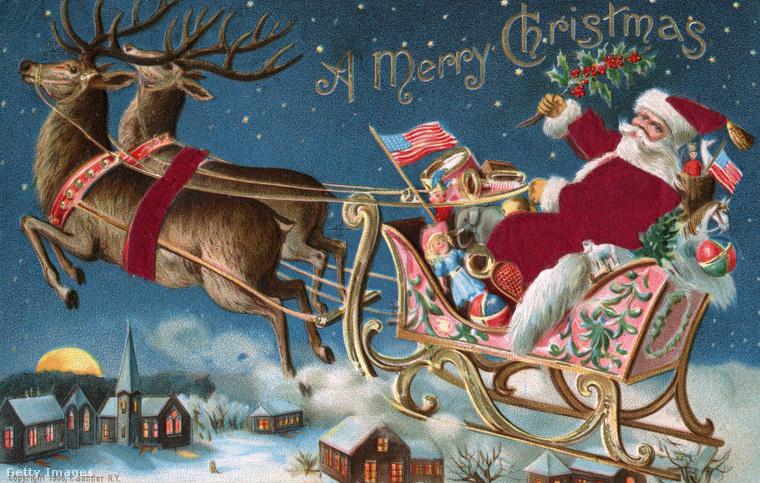 És most jöjjön a Mikulás, vagy Télapó, aki az amerikai gyerekeknek viszi a karácsonyi ajándékokat! Talán nem túl merész ezeknek a lapoknak a tartalmáról következtetni arra, mire vágytak az akkori gyerekek, mert bizonyára ezt festették a puttonyba és a szánkóra.Erre az 1906-os képre például a lányoknak baba került, a fiúknak trombita és dob, illetve labdák, és valamilyen ütő, játékhoz.
