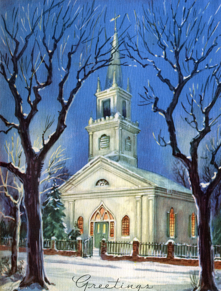 Ugyanebből az időszakból származik ez a templomos tájkép is, a szerény, üdvözletfelirattal.