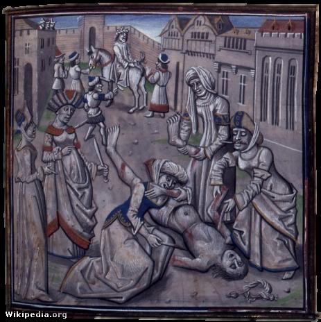 A tömeg meglincseli I. Andronikosz Komnénosz császárt.