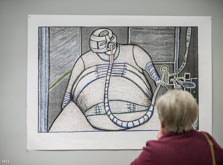 Egy látogató nézi Benes József alkotását a huszonöt éve meghalt Sziveri János vajdasági költő tiszteletére tartott emlékest után megnyílt kiállításon, Kecskeméten a Kápolna Galériában 2015. január 21-én.