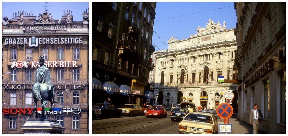 1988: A Schwarzenbergplatz lovasszobra, a háttérben a fejlett nyugat kívánatos márkái // Bécsi városkép: Gredlerstrasse és Taborstrasse sarok