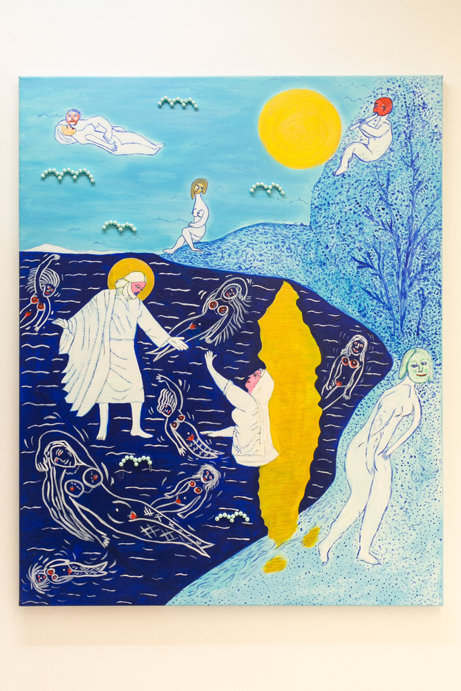 """""""A Jézus a Balatonon jár az egyetlen kép, ahol maga Jézus jelenik meg, azonban itt a kontextus más, mert itt nem azon a vízen jár, ahol régen, hanem végre meglátogat minket és a Balatonon mutat be csodát"""" - mondja drMáriás"""