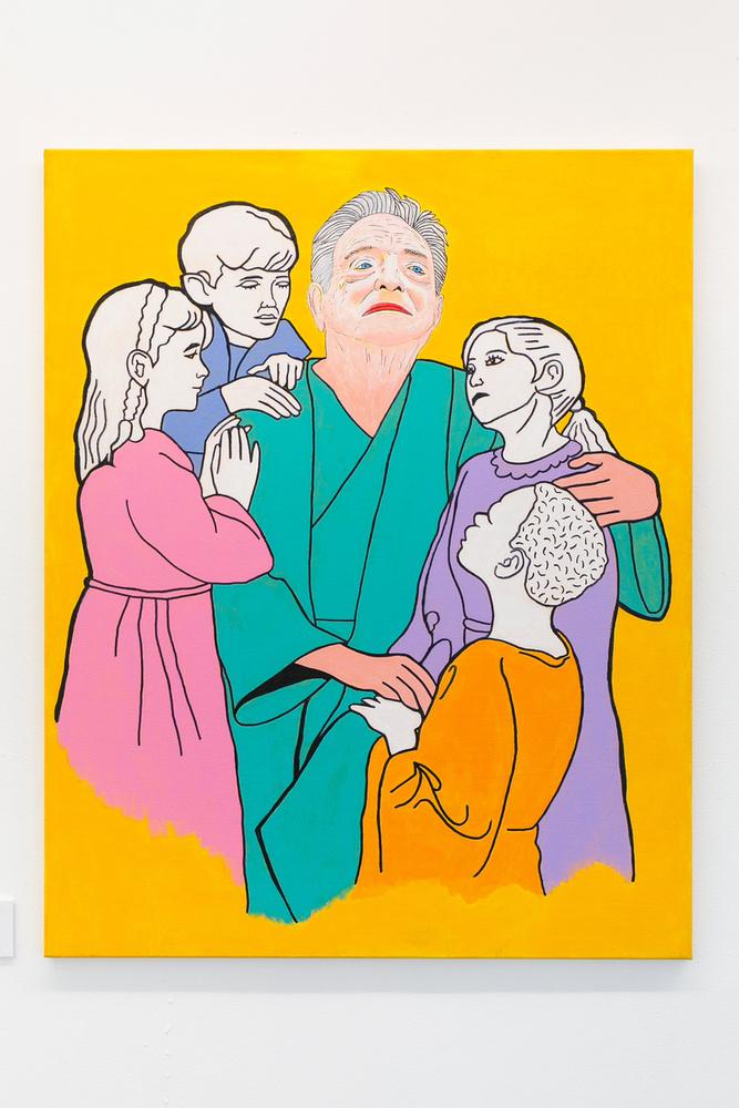 """""""Egy másik értelmezésében az """"Engedjétek hozzám a gyermekeket!"""" szituációban                         Soros Györgyöt láthatjuk, aki a kormány nyomására belép a Zalaigricei Keresztyén Gyermekszínjátszó körbe,                         ahol a gyerekek szimpátiájuk jeléül megválasztják őt Passió-játékuk főszereplőjévé"""