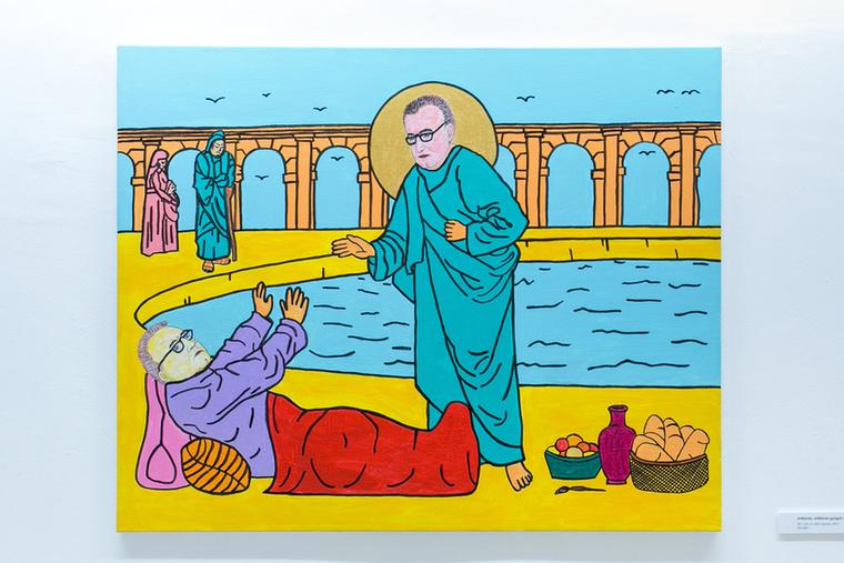 """""""Jézus a Bethesda-tónál tett csodát, amikor egy nyomorultat meggyógyított, e képen viszont az ő személyében engem láthatunk, amint csodát téve kigyógyítom saját magamat, mint elesett nyomorultat a kép alsó sarkában látható eszközökkel: kenyérrel, borral, gyümölccsel és ecsettel"""""""