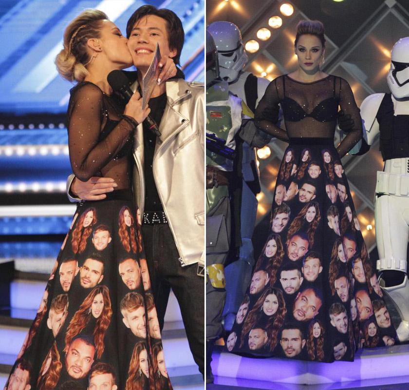 Kiss Ramóna a legkülönlegesebb ruhát az X-Faktor ötödik adásában viselte: az átlátszó felsőhöz a mentorok fejével dekorált, földig érő szoknyát húzott.