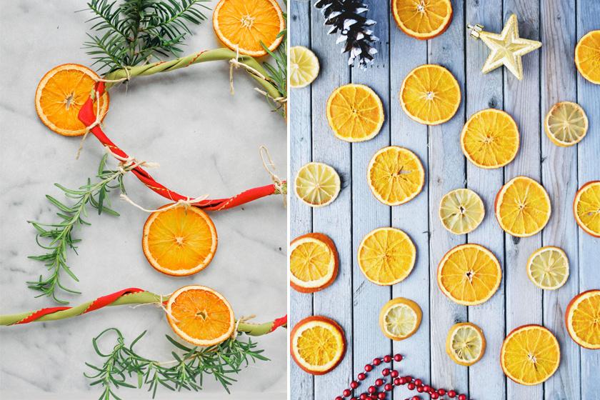Ha vékony szeletekre vágod a narancsot, és úgy szárítod ki, akkor sokáig illatozik majd a girlandod.