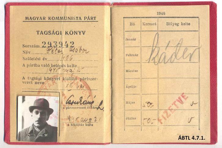 Péter Gábor párttagkönyve