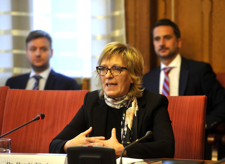 Handó Tünde, az Országos Bírósági Hivatal elnöke éves beszámolóját tartja az Országgyűlés igazságügyi bizottságának ülésén a Parlamentben 2017. november 21-én.