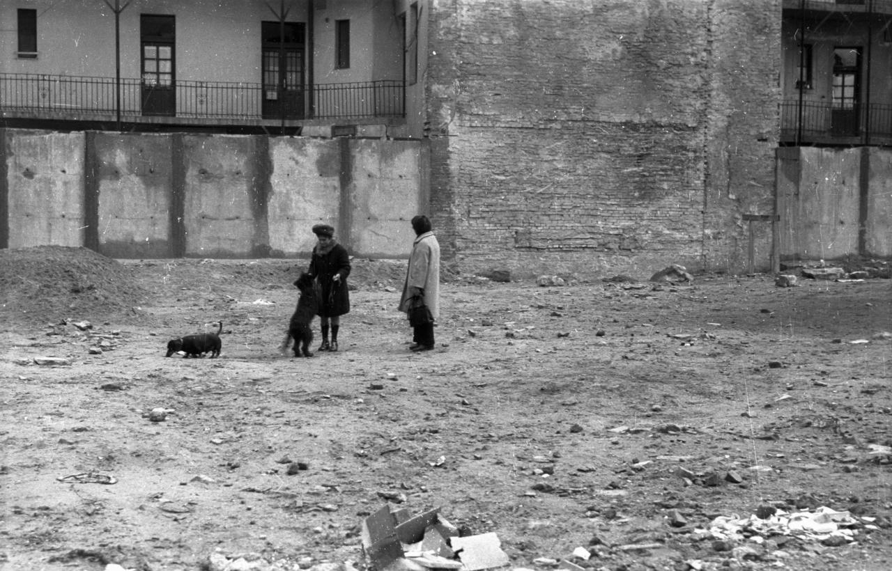 Életjel a romok között, kutyasétáltatók a Jázmin utcában. Bár a lepusztult épületállomány miatt eredetileg szanálni akarták az egész József körút – Baross utca – Illés utca – Üllői út által határolt területet, erről lemondva végülis áttértek a részleges és szakaszos bontásra.
