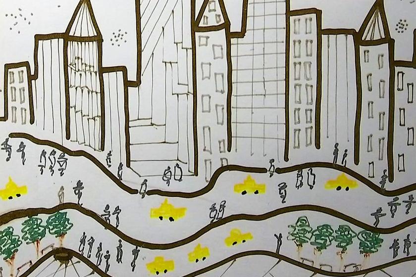 Trump rajza egy New York-i városkép vázlata ablakokkal, fákkal, sárga taxikkal és gyalogosokkal. Várhatóan 15 ezer dollárt kérnek érte.